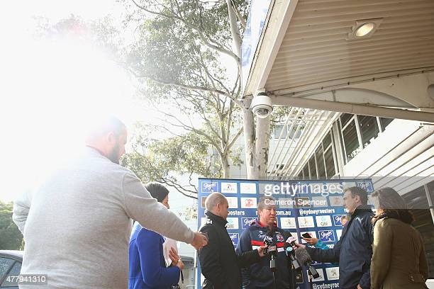 Roosters coach Trent Robinson discusses Michael Jennings of the Roosters arrest during a media call at Roosters Headquarters on June 21 2015 in...
