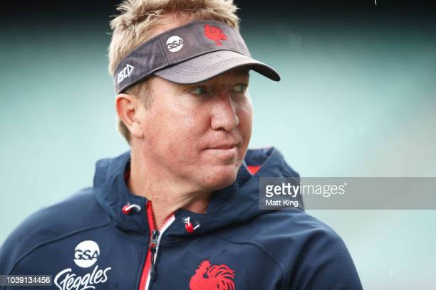 Roosters coach Trent Robinson looks on during a Sydney Roosters NRL training session at Allianz Stadium on September 24 2018 in Sydney Australia