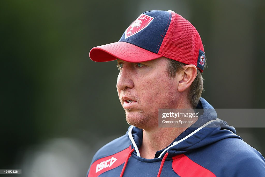 Roosters coach Trent Robinson looks on during a Sydney Roosters NRL training session at Kippax Lake on September 3, 2014 in Sydney, Australia.