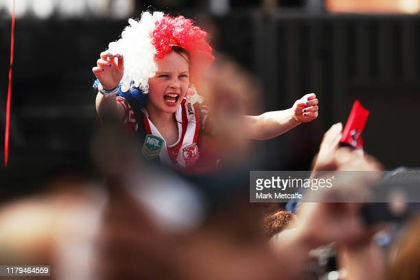 Roosters fan cheers during the Sydney Roosters NRL Grand Final celebrations at Hordern Pavilion on October 07, 2019 in Sydney, Australia. The Rooster...