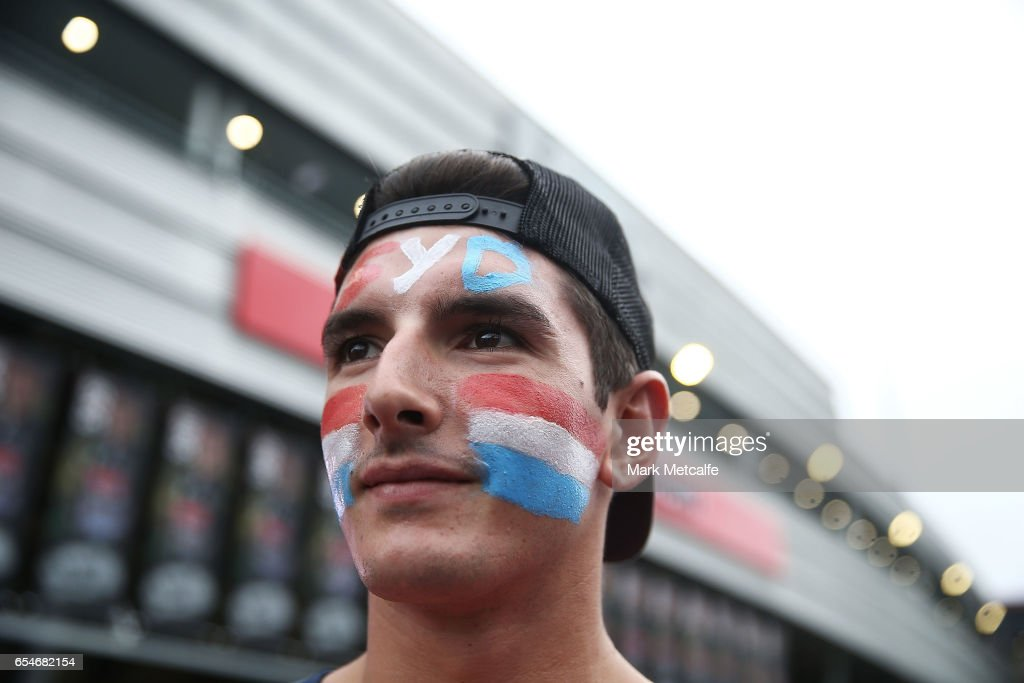 A Roosters fan shows his support before the round three NRL match between the Penrith Panthers and the Sydney Roosters at Pepper Stadium on March 18, 2017 in Sydney, Australia.