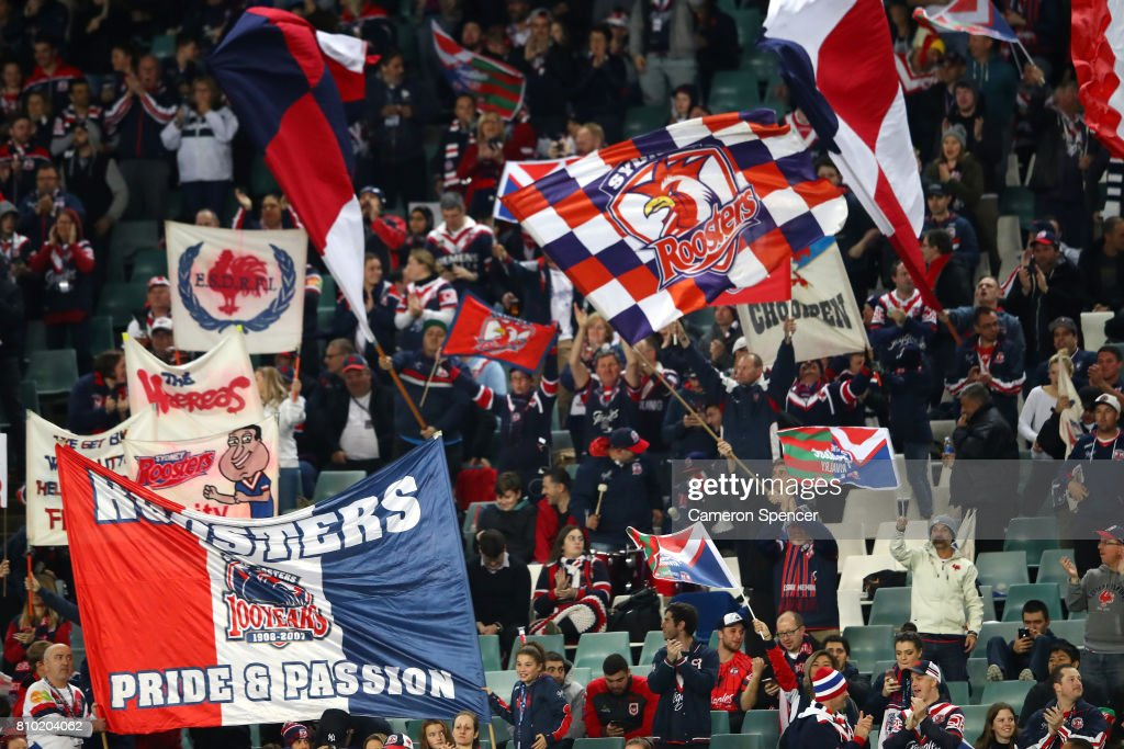 Roosters fans show their colours during the round 18 NRL match between the Sydney Roosters and the South Sydney Rabbitohs at Allianz Stadium on July 7, 2017 in Sydney, Australia.
