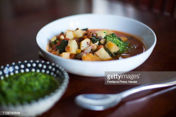 Root Vegetable and Kale Minestrone with Kale Stem and Parsley Pistou.