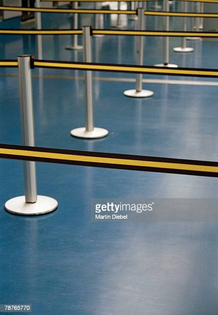 Rope barriers in an airport