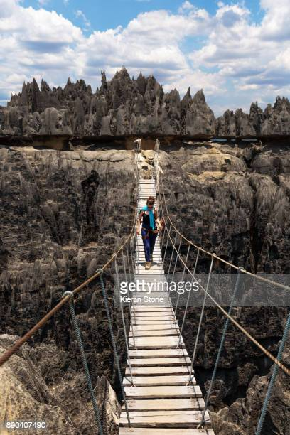 Rope Bridge Across Canyon in Tsingy