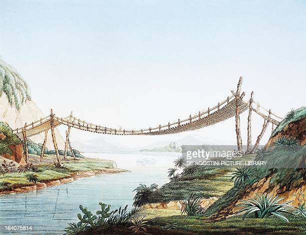 Rope bridge over the Chambo River at Penipe Ecuador engraving from Views of the cordilleras and monuments of the indigenous peoples of the Americas...