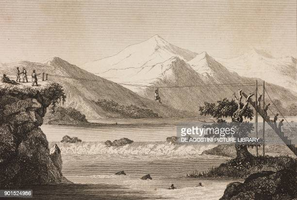 Rope bridge over the Magadalena river Colombia engraving by Shelton from Bresil by Ferdinand Denis Colombie et Guyanes by Famin L'Univers Pittoresque...