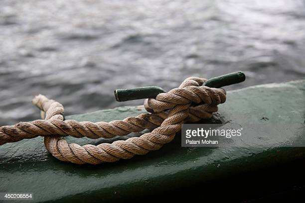 A rope is knotted onto a fixture on the Star Ferry on June 6 2014 in Hong KongThe ferry which connects Hong Kong island to the Kowloon peninsula has...