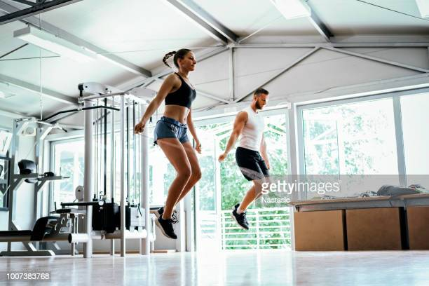 rope jumping just to worm up - skipping rope stock pictures, royalty-free photos & images