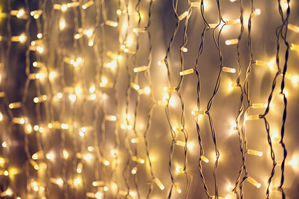 Rope Line Abstract Background With Fairy Lights Christmas Baubles