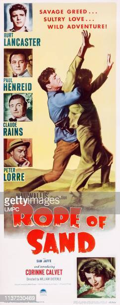 Rope Of Sand poster US poster art Burt Lancaster Paul Henreid Claude Rains Peter Lorre Corinne Calvet 1949