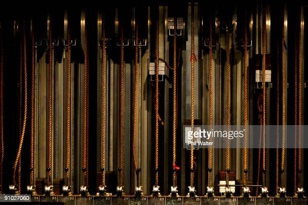 Rope pulley systems used to lift and lower the curtains for the show are seen backstage ahead of the Nom D collection show on day two of Air New...