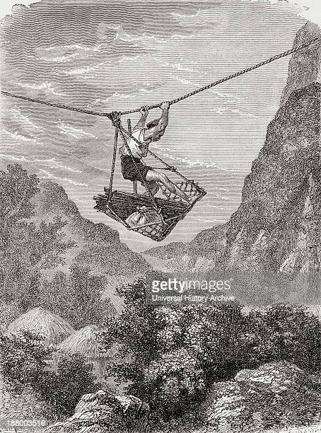 A Rope Suspended Cradle Over A Valley Used As A Means Of Transport In Japan In The 19Th Century From El Mundo En La Mano Published 1875