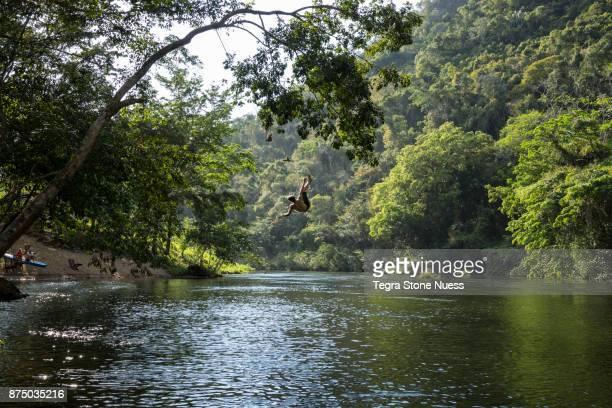 Rope swing in Belize