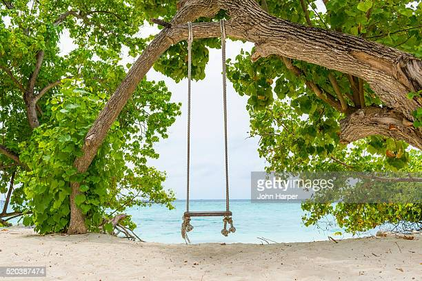 Rope swing in the Maldives