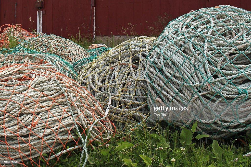Ropes for lobstering in Nova Scotia : Stock Photo