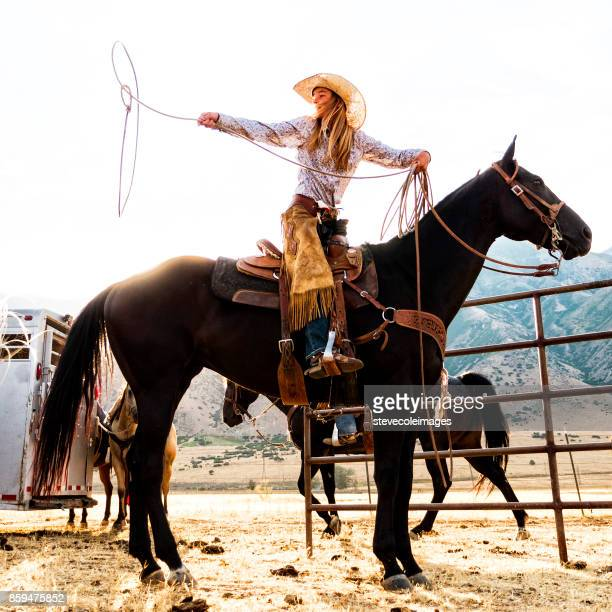 roping cowgirl - cowgirl stock photos and pictures