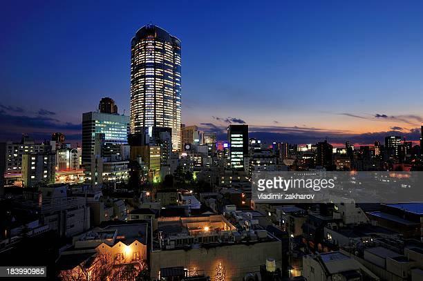 Roppongi hills cityscape at sunset