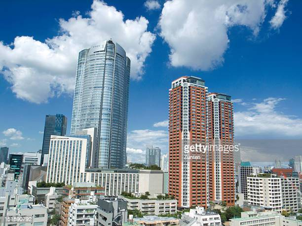 roppongi hills under summer sky - roppongi hills stock pictures, royalty-free photos & images