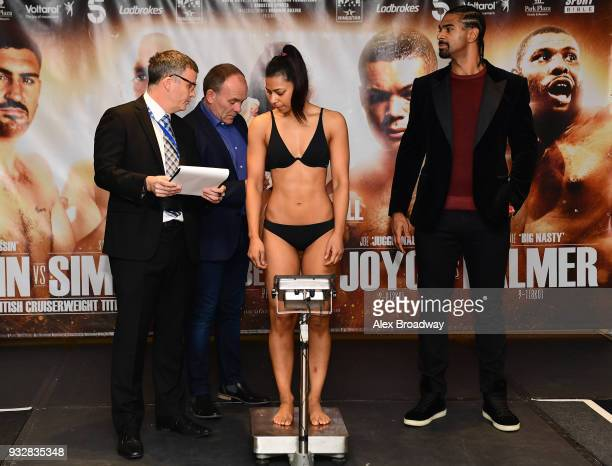 Roqsana Begum attends the Hayemaker Ringstar Weigh In at The Park Plaza Victoria on March 16 2018 in London England The Double Header Fight Night...