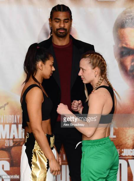 Roqsana Begum David Haye and Ivanka Ivanova attend the Hayemaker Ringstar Weigh In at The Park Plaza Victoria on March 16 2018 in London England The...