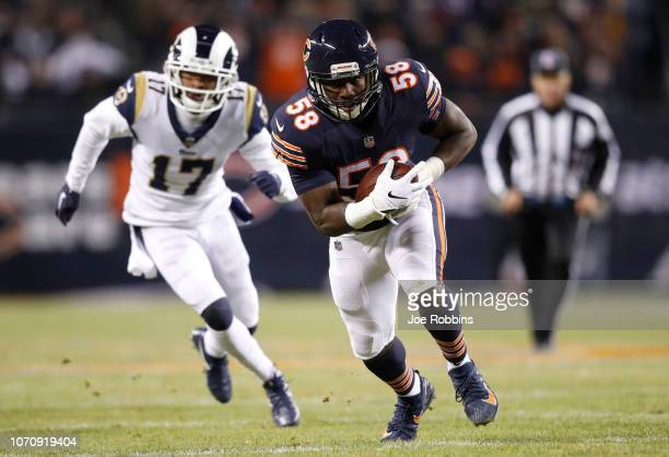 Roquan Smith of the Chicago Bears carries the football in the second quarter against the Los Angeles Rams at Soldier Field on December 9, 2018 in...