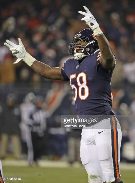 Roquan Smith of the Chicago Bears celebrates a defensive stop against the Los Angeles Rams at Soldier Field on December 9, 2018 in Chicago, Illinois....
