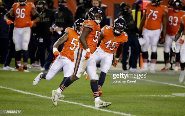 Roquan Smith of the Chicago Bears celebrates after a sack against the Minnesota Vikings in the third quarter at Soldier Field on November 16, 2020 in...