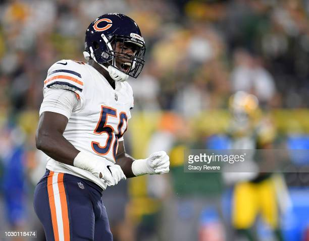 Roquan Smith of the Chicago Bears reacts after recording a sack during the second quarter of a game against the Green Bay Packers at Lambeau Field on...