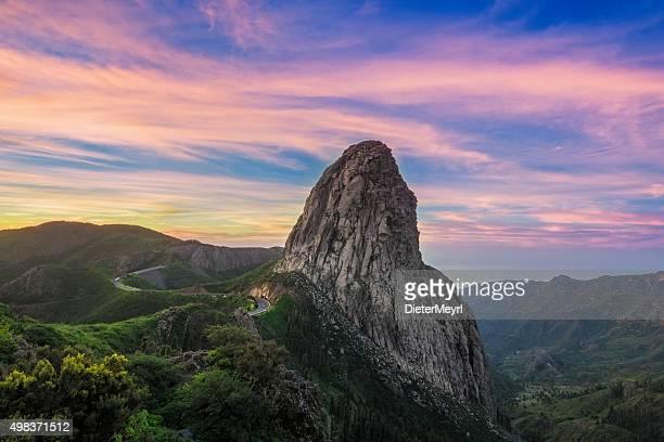 Roque Argando at sunrise - La Gomera island, Spain