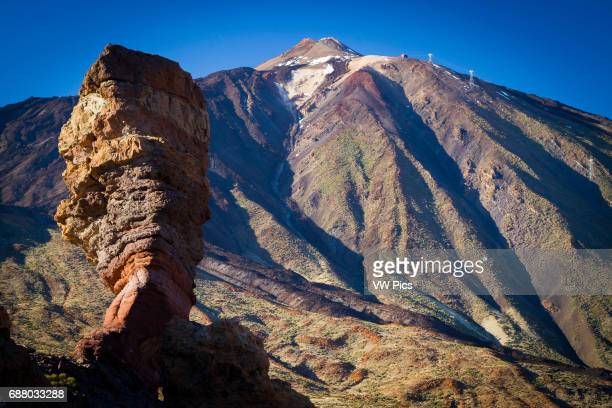 Roque Cinchado and Teide volcano Teide National Park La Orotava Tenerife Canary Islands Atlantic Ocean Spain