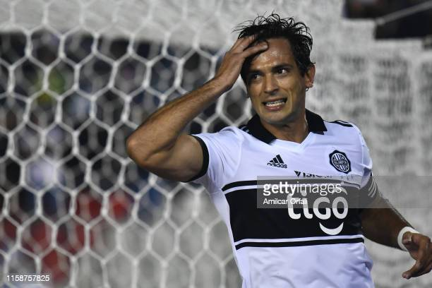 Roque Luis Santa Cruz Cantero of Olimpia reacts during a round of sixteen second leg match between Olimpia and LDU Quito as part of Copa CONMEBOL...