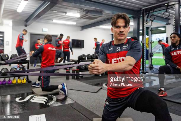 Roque Mesa exercises in the gym during the Swansea City Training at The Fairwood Training Ground on January 04 2018 in Swansea Wales