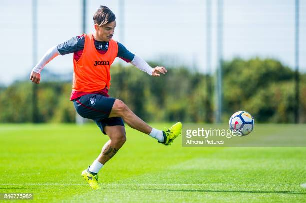 Roque Mesa in action during the Swansea City training session at The Fairwood training Ground on September 13 2017 in Swansea Wales