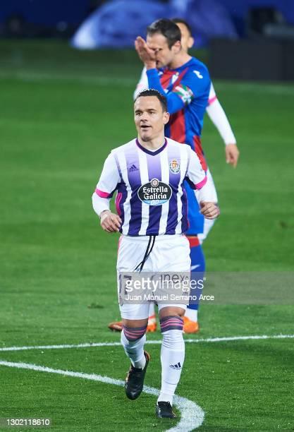 Roque Mesa of Real Valladolid CF celebrates after scoring goal during the La Liga Santander match between SD Eibar and Real Valladolid CF at Estadio...