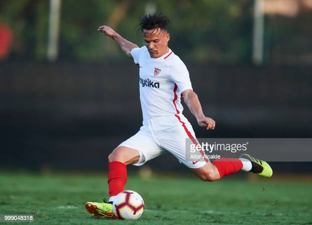 Roque Mesa of Sevilla FC controls the ball during Pre Season friendly Match between Sevilla FC and AFC Bournemouth at La Manga Club on July 14 2018...