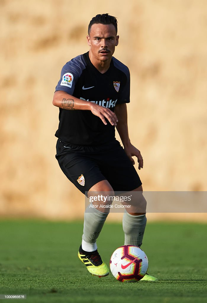 Roque Mesa of Sevilla FC in action during a friendly match between Sevilla FC and Real Mucia at Real Club de golf Campoamor on July 17, 2018 in Murcia, Spain.
