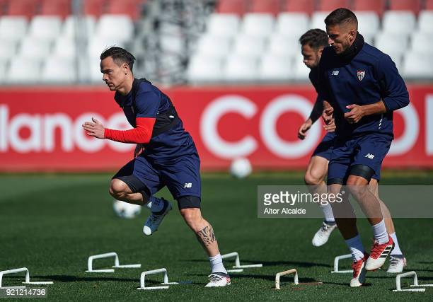 Roque Mesa of Sevilla FC in action during a Sevilla FC training session prior to their UEFA Champions League match against Manchester United at Ramon...