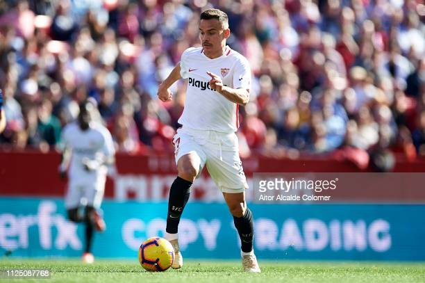 Roque Mesa of Sevilla FC in action during the La Liga match between Sevilla FC and Levante UD at Estadio Ramon Sanchez Pizjuan on January 26 2019 in...
