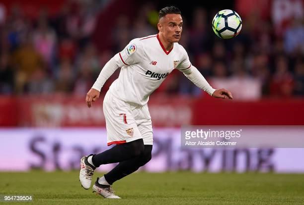 Roque Mesa of Sevilla FC in action during the La Liga match between Sevilla and Real Sociedad at Estadio Ramon Sanchez Pizjuan on May 4 2018 in...