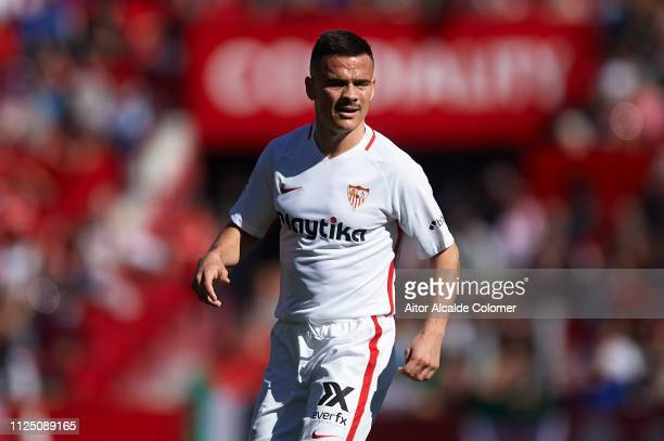 Roque Mesa of Sevilla FC looks on during the La Liga match between Sevilla FC and Levante UD at Estadio Ramon Sanchez Pizjuan on January 26 2019 in...