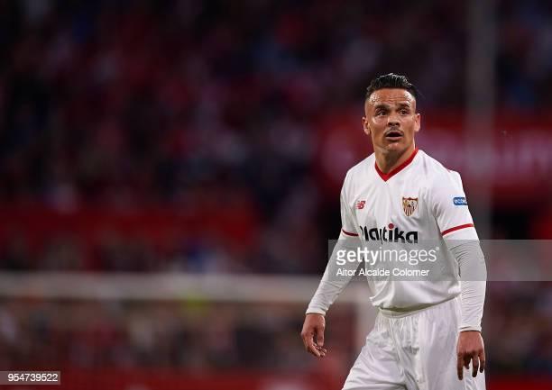 Roque Mesa of Sevilla FC looks on during the La Liga match between Sevilla and Real Sociedad at Estadio Ramon Sanchez Pizjuan on May 4 2018 in Seville