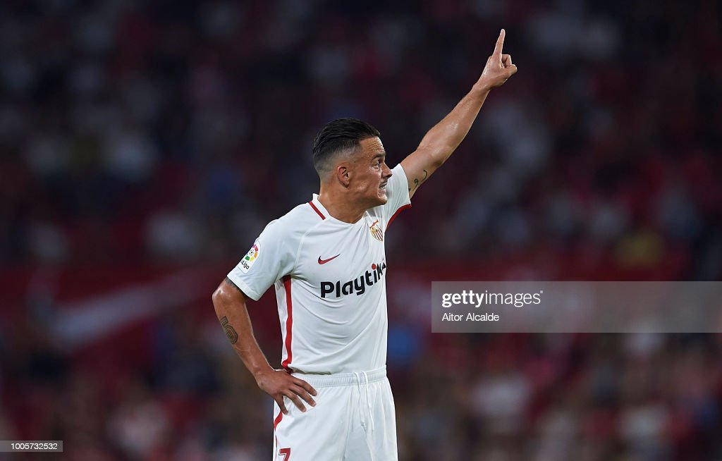 Roque Mesa of Sevilla FC reacts during Sevilla v Ujpest UEFA Europa League Second Qualifying Round 1st leg match at Estadio Ramon Sanchez Pizjuan on July 26, 2018 in Seville, Spain.