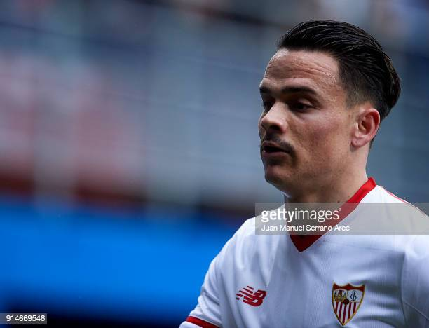 Roque Mesa of Sevilla FC reacts during the La Liga match between SD Eibar and Sevilla FC at Ipurua Municipal Stadium on February 3 2018 in Eibar Spain