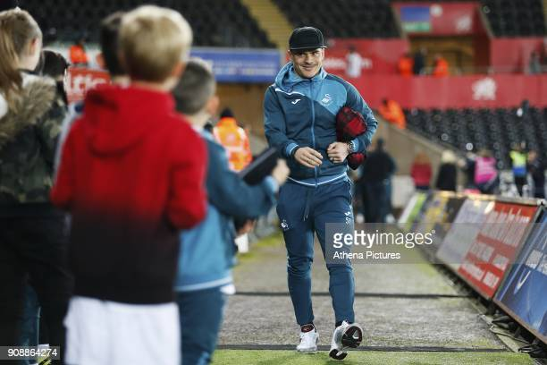 Roque Mesa of Swansea City arrives at Liberty Stadium prior to kick off of the Premier League match between Swansea City and Liverpool at the Liberty...