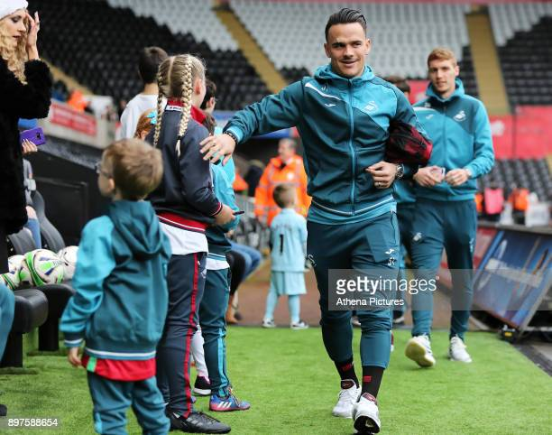 Roque Mesa of Swansea City arrives prior to the game during the Premier League match between Swansea City and Crystal Palace at The Liberty Stadium...