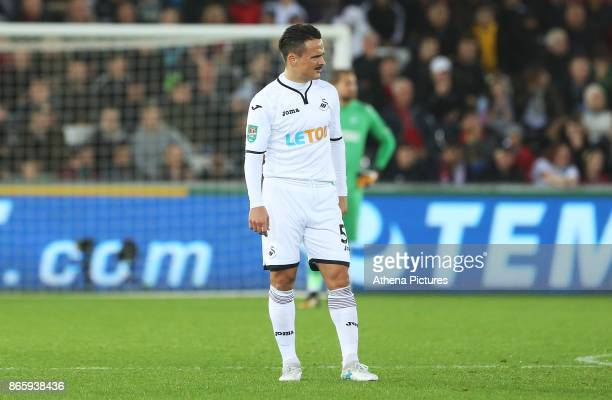 Roque Mesa of Swansea City during the Carabao Cup Fourth Round match between Swansea City and Manchester United at the Liberty Stadium on October 24...