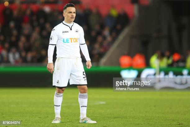Roque Mesa of Swansea City during the Premier League match between Swansea City and Bournemouth at the Liberty Stadium on November 25 2017 in Swansea...