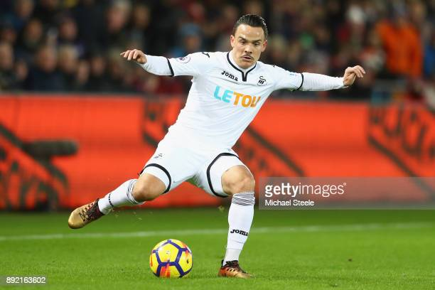 Roque Mesa of Swansea City during the Premier League match between Swansea City and Manchester City at Liberty Stadium on December 13 2017 in Swansea...