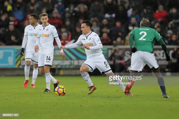 Roque Mesa of Swansea City in action during the Premier League match between Swansea City and West Bromwich Albion at The Liberty Stadium on December...